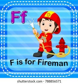 vector illustration of Flashcard letter F is for fireman
