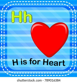 vector illustration of Flashcard letter H is for house