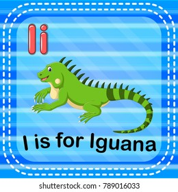 vector illustration of Flashcard letter I is for iguana