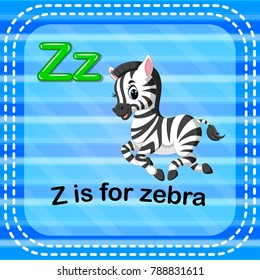 vector illustration of Flashcard letter Z is for zebra