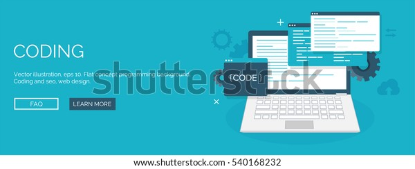 Vector illustration. Flat background. Coding, programming. SEO. Search engine optimization. App development, creation. Software, program code. Web design.