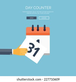 Vector illustration. Flat background with hand and calendar. Time and date. 31 december. New year.