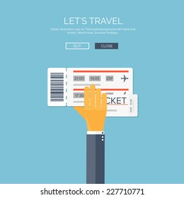 Vector illustration. Flat background with hand and tickets. Travel by plane.