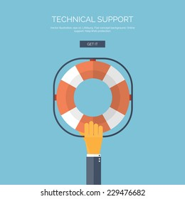 Vector illustration. Flat background with hand and lifebuoy.  Technical support concept. Online help.