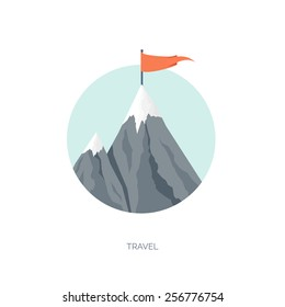 Vector illustration. Flat background with mountains. Achievement and aims. Explore and discover. Traveling.