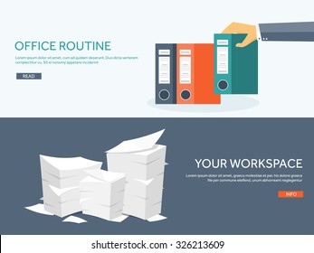 Vector illustration. Flat background with papers. paperwork and office routine, documents. Workspace. Hand with folders.