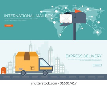 Vector illustration. Flat background. Postbox, car with package. Envelope. International communication. Packaging, transportation.. Express delivery. Postal services. Chatting.
