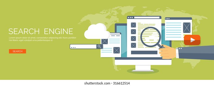 Vector illustration. Flat background. SEO. Search engine optimization. App development.Web pages and bookmarks.