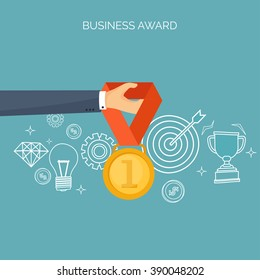 Vector illustration. Flat business concept background. Achievements, mission. Aims, new ideas. Smart solutions.  First place. Medal.