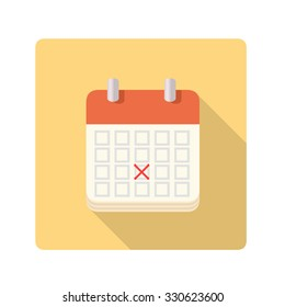 A vector illustration of a flat calendar with a red x mark.   Calendar icon illustration.  Flat Icon Calendar marked with date and on a yellow panel with a drop shadow.