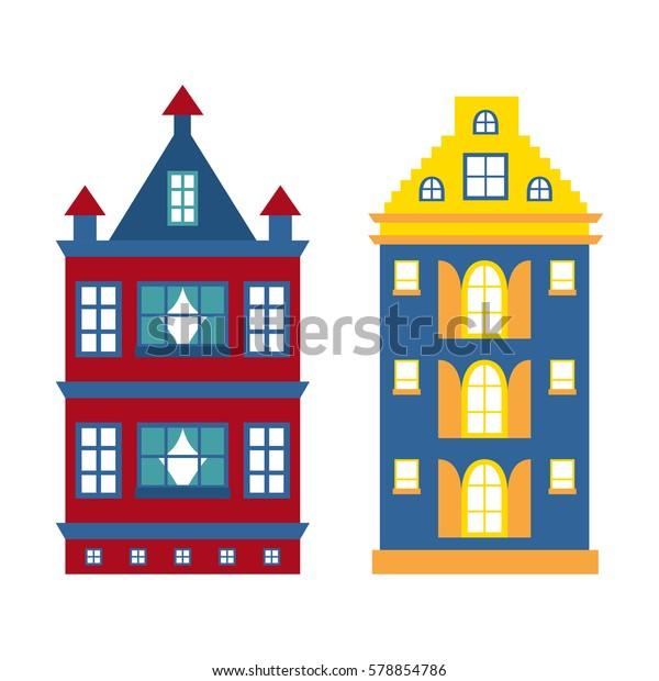 Vector Illustration Flat Cartoon House City Stock Vector