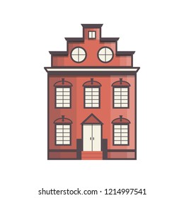 Vector illustration with flat cartoon line house. City, town design. Urban landscape background. Exterior facade building. Colorful old, retro and modern front view house icon