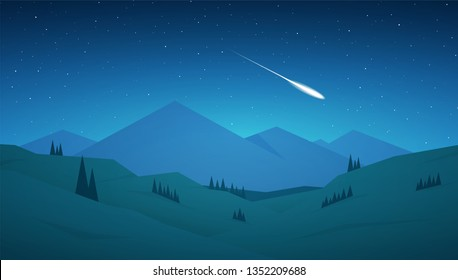Vector illustration: Flat cartoon Night Mountains landscape with hills, stars and meteor on the sky.