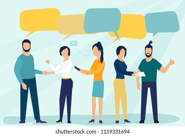Vector illustration in flat cartoon style. businessmen discuss social network, news, social networks, chat, dialogue speech bubbles