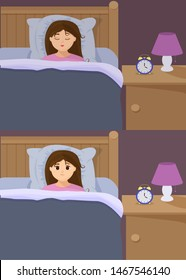 Vector illustration in flat cartoon style with sad sleepless woman and sleeping girl in bed. Female insomniac trying to fall asleep. Problem of sleeplessness, nightmares, sleep disorder.