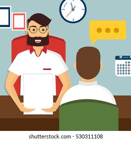Vector illustration, flat cartoon style. Business human resources. HR recruitment. Interview with the candidate positions. Job interview concept