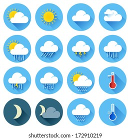 Vector illustration of flat color weather icons with long shadow