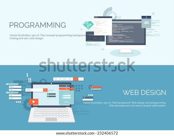 Vector illustration. Flat computing background. Programming and coding. Web development and search. Search engine optimization. Innovation and technologies.