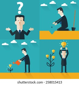 Vector illustration. Flat concept. Project start up with light bulb. Business aims and smart solutions. Teamwork.