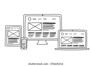 Vector illustration of flat concept responsive web design prototype in computer, tablet and phone