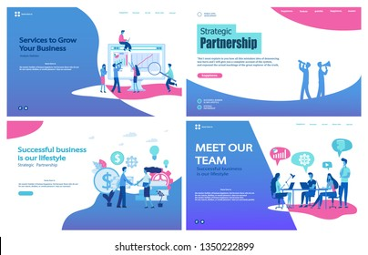 Vector illustration flat concepts decorated people character for website and mobile website development.Set of landing page templates