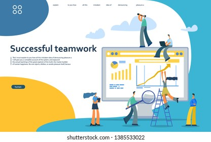 vector illustration flat concepts decorated people character for website and mobile website development.\nSuccessful teamwork