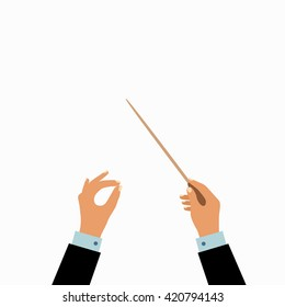 Vector illustration  of flat conductor orchestra hands. Colorful chorus conductor concept  for your design.