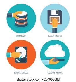 Vector illustration. Flat data storage. Cloud computing. Database.