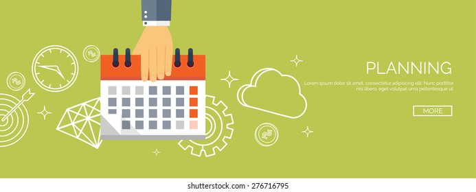 Vector illustration. Flat date and time background. Planning. Time management.