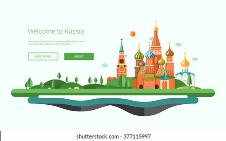 Vector illustration of flat design banner, header travel composition with Russian landscape. Welcome to Russia