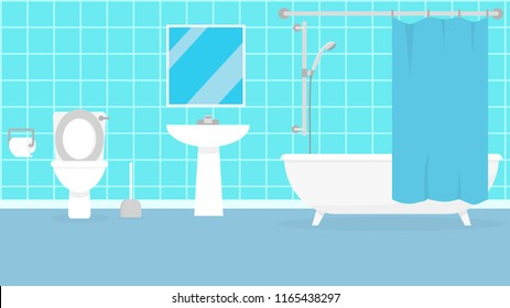 Vector illustration. Flat design. Bathroom with furniture. Bathroom interior.