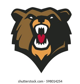 Vector illustration of flat design bear head