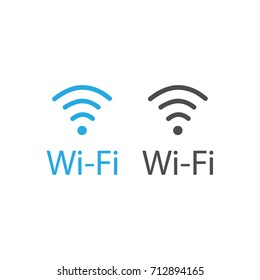 Vector illustration flat design blue wireless icon. Wi-Fi symbol, sign. WiFi