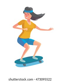 Vector illustration in flat design. Cartoon style character of hipster concept. Freedom young girl riding on long-board.