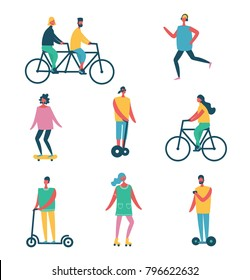 Vector illustration of flat design characters riding thing - bycycle, scooter, skateboard, rollers and other