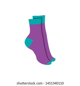 Vector illustration flat design colorful socks isolated on white background. Textile warm clothes socks pair cute decoration wool winter clothing. Sport season collection