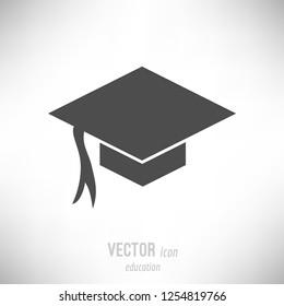 Vector illustration of flat design education icon. dark grey