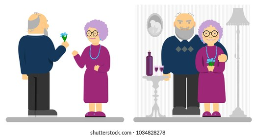 vector illustration, flat design, an elderly couple, an elderly man gives a bouquet of flowers to an elderly woman