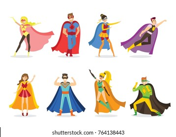 Vector illustration in flat design of female  and male superheros in funny comics costume isolated on the white background