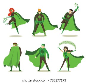 Vector illustration in flat design of female and male eco superheros in funny comics costume isolated on the white background