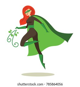 Vector illustration in flat design of female eco superhero in funny comics costume isolated on the white background