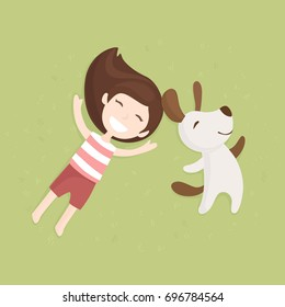 Vector illustration in flat design with girl and dog lying on the grass together. Friendship between human and dog