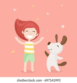 Vector illustration in flat design with girl and dog happy dancing together. Friendship between human and dog