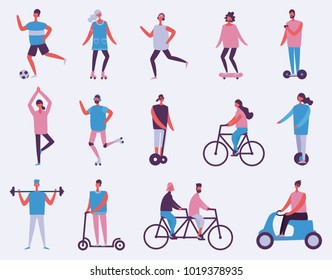 Vector illustration in flat design of group of people doing sports