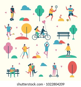 Vector illustration in flat design of group people outdoor in the park on weekend