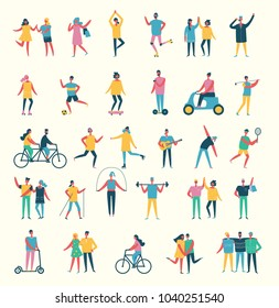 Vector illustration in flat design of group people with different kinds of sport