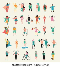 Vector illustration in flat design of group of women doing different activity