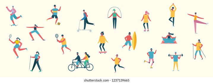 Vector illustration in flat design of group people doing different kinds of sport in a flat colorful style