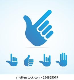 Vector illustration. Flat Design hand icon set different gesture, signals