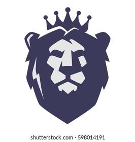 Vector illustration of flat design lion head